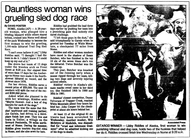 article about Libby Riddles becoming the first woman to win Alaska's Iditarod Trail Sled Dog Race, Oregonian newspaper article 21 March 1985