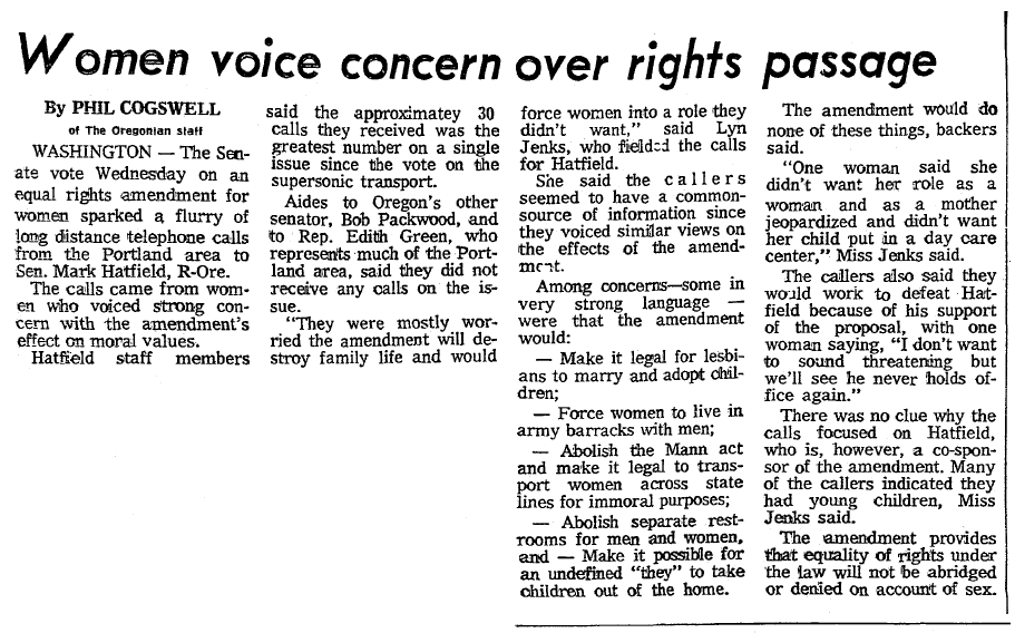 Women Voice Concern over (Equal Rights Amendment) Passage, Oregonian newspaper article 23 March 1972