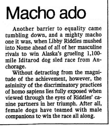 editorial about Libby Riddles becoming the first woman to win Alaska's Iditarod Trail Sled Dog Race, Oregonian newspaper article 24 March 1985