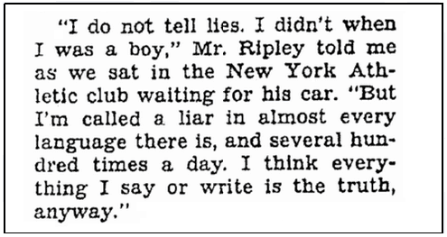 article about Robert Ripley, Oregonian newspaper article 29 November 1936