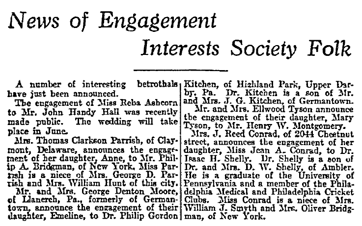 engagement announcements, Philadelphia Inquirer newspaper article 3 May 1914