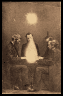 photo of a séance conducted by John Beattie, Bristol, England, 1872, from the Eugène Rochas Papers held at the American Philosophical Society Library