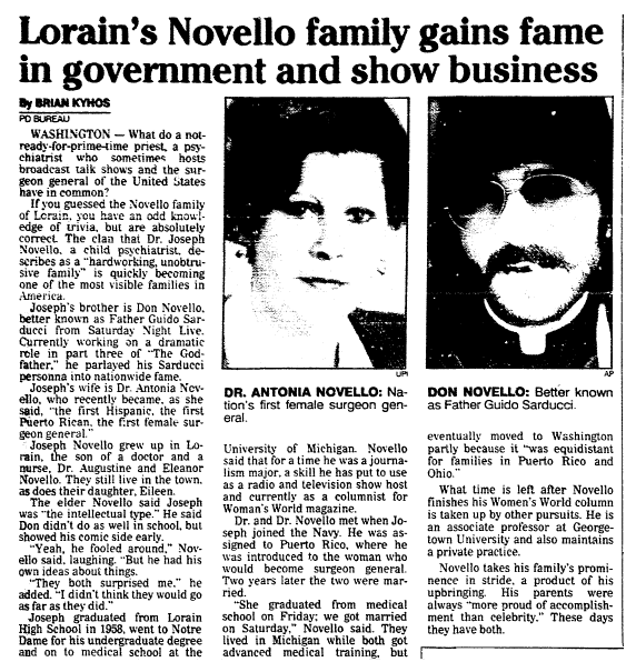 article about Surgeon General Antonia Novello's family, Plain Dealer newspaper article 18 March 1990