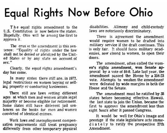editorial about Ohio passing the Equal Rights Amendment, Plain Dealer newspaper article 26 March 1972