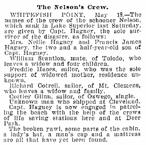 "article about the shipwreck of the schooner ""Nelson,"" Plain Dealer newspaper article 19 May 1899"