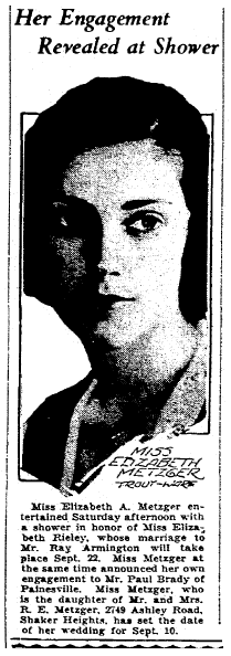 engagement announcement for Elizabeth Metzger, Plain Dealer newspaper article 28 August 1932