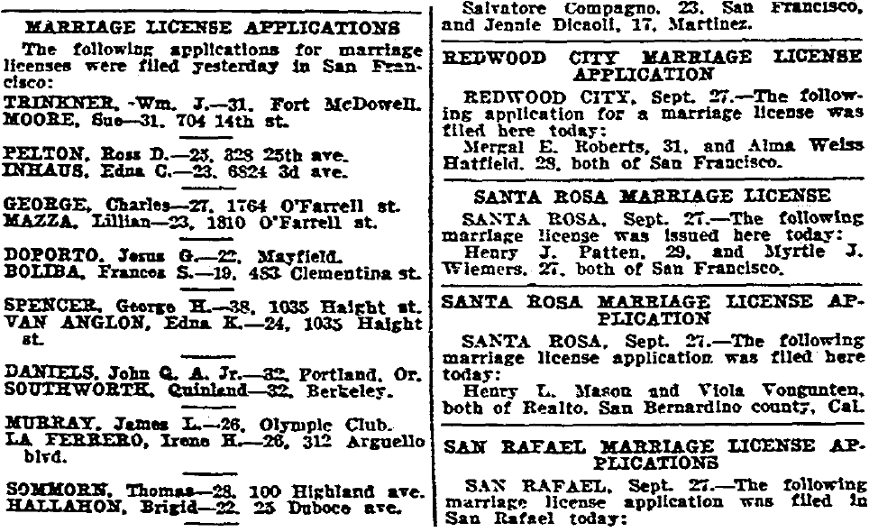 marriage license announcements, San Francisco Chronicle newspaper article 28 September 1927