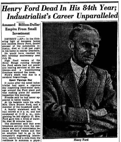 obituary for Henry Ford, Trenton Evening Times newspaper article 8 April 1947