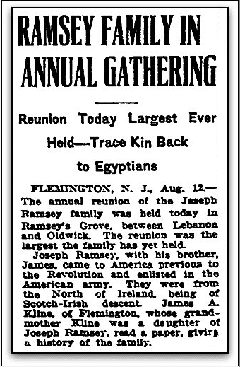 Ramsey Family in Annual Gathering, Trenton Evening Times newspaper article 13 August 1922
