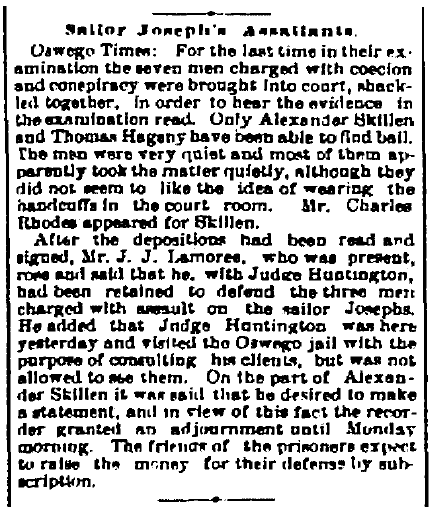 article about Thomas Hagney being charged for assault, Watertown Daily Times newspaper article 17 May 1889