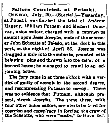 article about Andrew Hagney being convicted for assault, Watertown Daily Times newspaper article 20 July 1889
