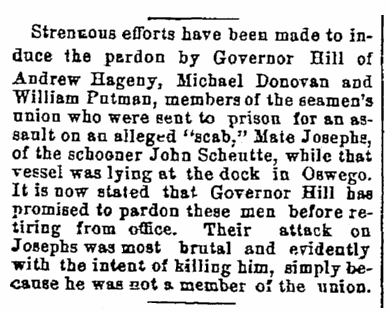 article about Andrew Hagney being pardoned by Governor Hill, Watertown Daily Times newspaper article 25 November 1891