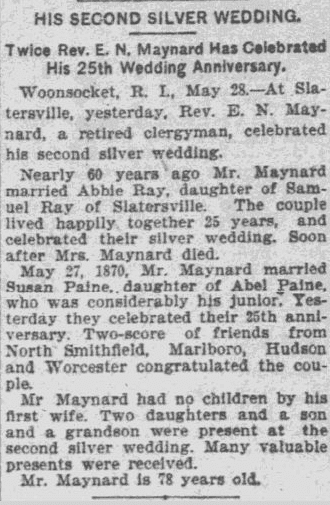 wedding anniversary announcement for E. N. Maynard and Susan Maynard, Worcester Daily Spy newspaper article 29 May 1895