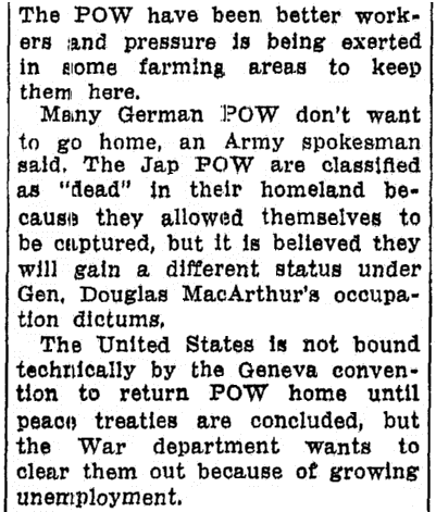 article about the repatriation of WWII POWs held in the U.S., Advocate newspaper article 7 January 1946