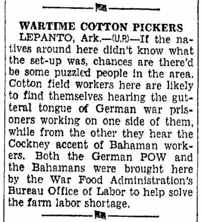 article about WWII German POWs in the U.S., Bellingham Herald newspaper article 3 December 1944