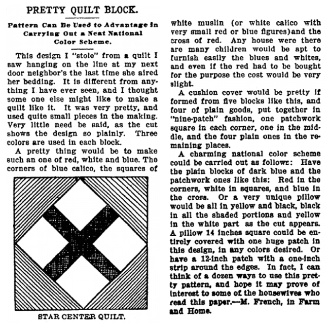 quilt block pattern for the Star Center Quilt, Broad Ax newspaper article 18 July 1903