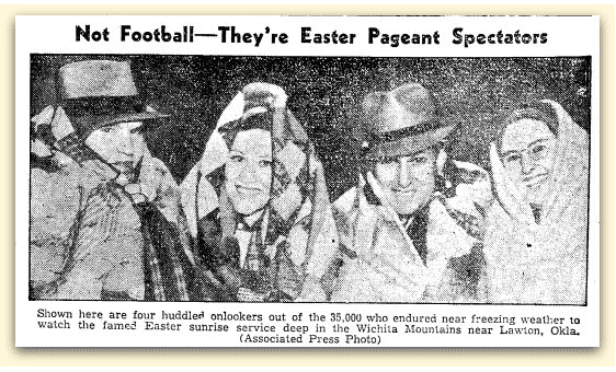 article about Easter sunrise service, Brownsville Herald newspaper article 1 April 1937