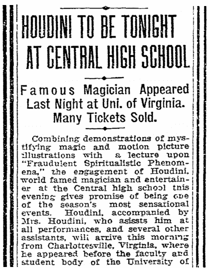article about the magician Harry Houdini, Charlotte Observer newspaper article 5 March 1924
