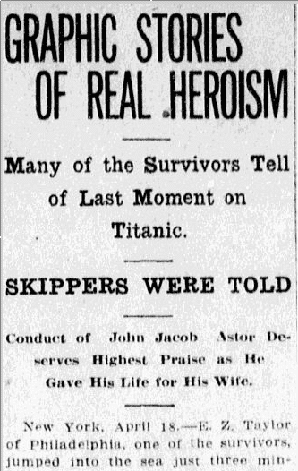 survivors' stories after the sinking of the Titanic, Charlotte Observer newspaper article 19 April 1912