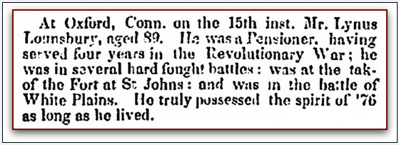 obituary for Linus Lounsbury, Columbian Register newspaper article 23 July 1836