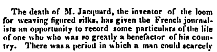 obituary for Joseph Jacquard, Daily Atlas newspaper article 29 October 1834