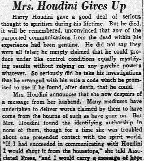 article about Bess Houdini, Dallas Morning News newspaper article 23 March 1930