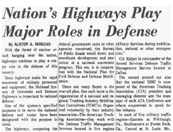 article about the U.S. Interstate Highway System, Dallas Morning News newspaper article 18 May 1962