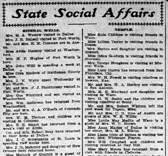 social column, Dallas Morning News newspaper article 18 June 1904