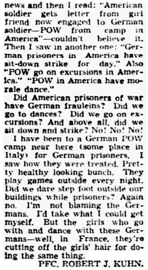 letter to the editor about WWII German POWs in the U.S., Dallas Morning News newspaper article 9 November 1944