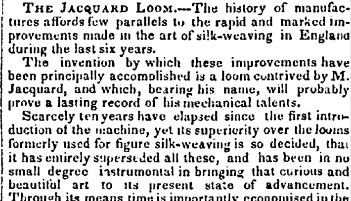 article about the Jacquard loom, Evening Post newspaper article 29 October 1833
