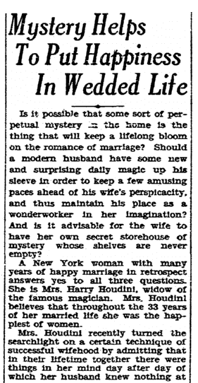 article about Bess Houdini, Evening Tribune newspaper article 23 August 1928