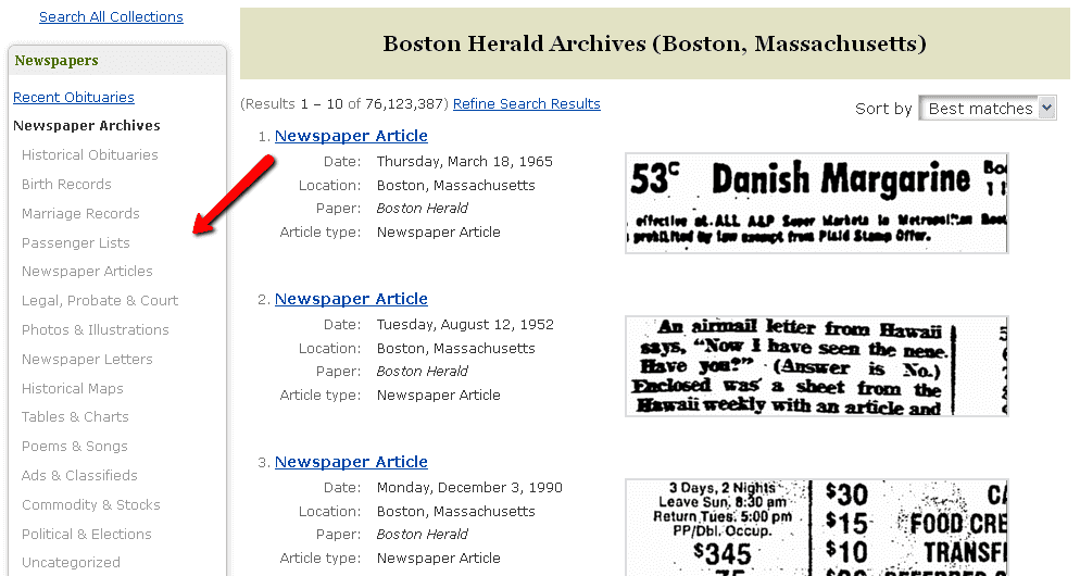 screenshot of GenealogyBank's seach page for its historical newspapers collection showing the article categories available