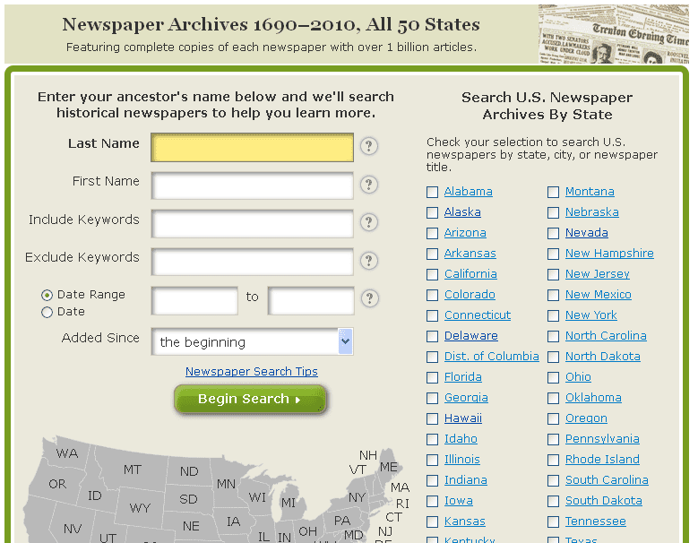 screenshot of GenealogyBank's search box for its historical newspapers collection