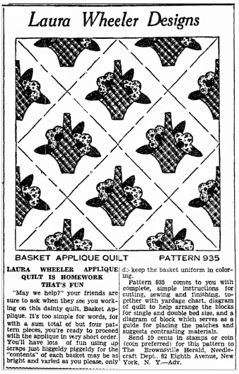 quilt patterns by Laura Wheeler, Heraldo de Brownsville newspaper article 15 January 1936