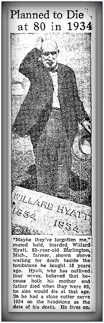 article about Willard Hyatt's tombstone, Heraldo de Brownsville newspaper article 4 November 1937