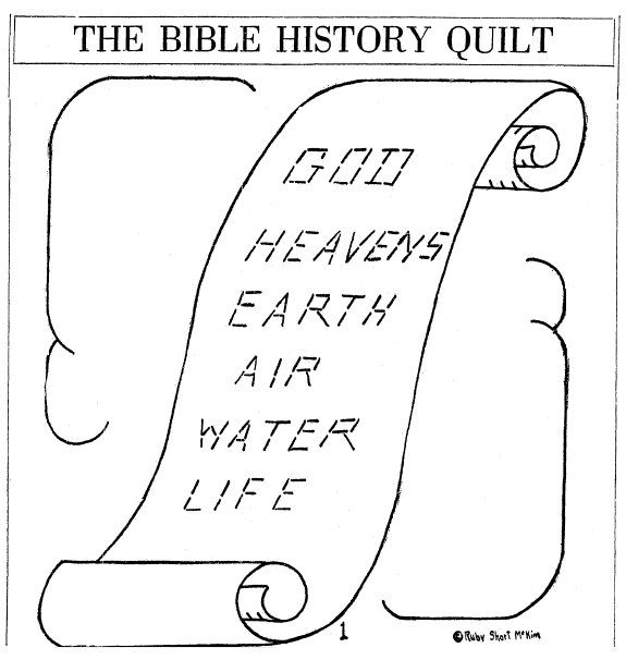 quilt block pattern for the Bible History Quilt, Idaho Statesman newspaper article 16 October 1927