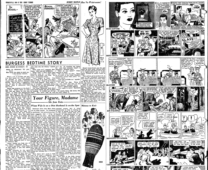 sewing patterns for a dress and mittens, Idaho Statesman newspaper article 31 October 1946