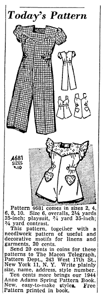 sewing patterns for overalls and a playsuit, Macon Telegraph newspaper article 10 February 1944