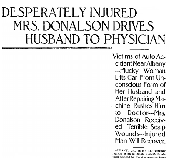Desperately Injured Mrs. Donalsono Drives Husband to Physician, Macon Telegraph newspaper article 14 March 1909