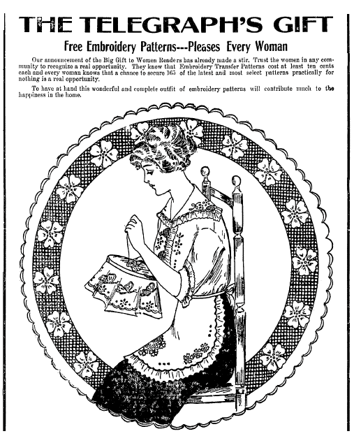 embroidery patterns, Macon Telegraph newspaper article 24 April 1914