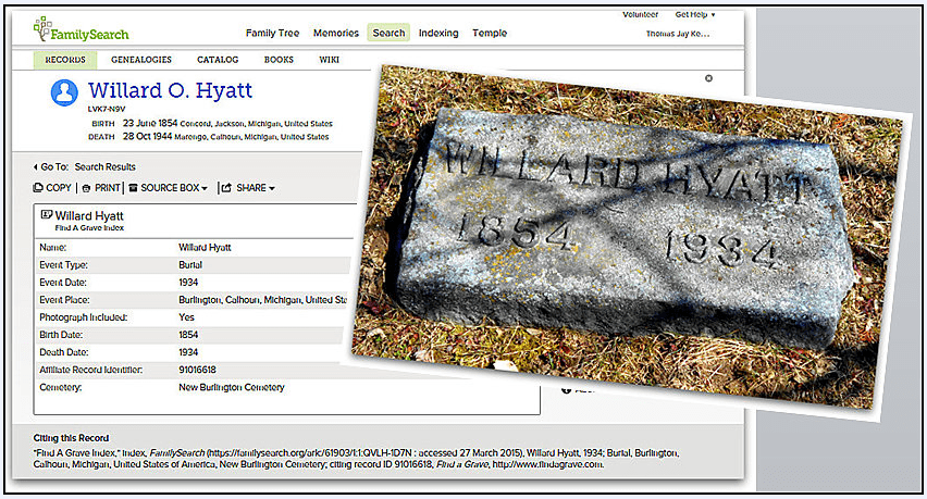 a montage showing Willard Hyatt's tombstone and death certificate