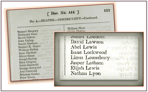 photo of a Revolutionary War pension list showing that Linus Lounsbury has died