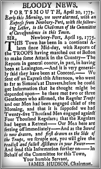 article about the Battles of Lexington and Concord, New Hampshire Gazette and Historical Chronicle newspaper article 21 April 1775