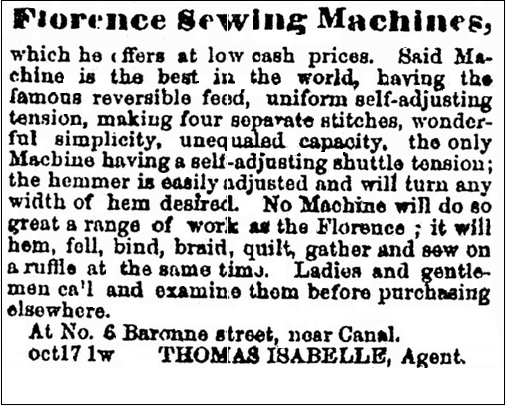 ad for sewing machines, New Orleans Tribune newspaper advertisement 23 October 1866