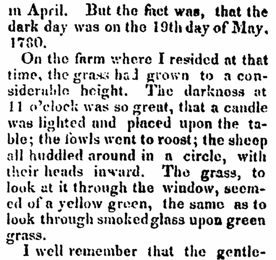 article about New England's Dark Day, Newburyport Herald newspaper article 4 January 1831