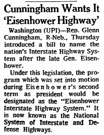 article about naming the U.S. Interstate Highway System in honor of President Eisenhower, Omaha World Herald newspaper article 8 May 1969