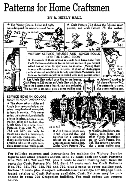 craft patterns, Oregonian newspaper article 16 May 1943