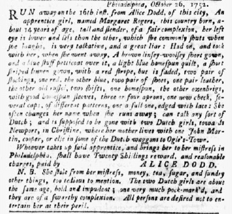 runaway ad for apprentice Margaret Rogers, Pennsylvania Gazette newspaper article 12 October 1752