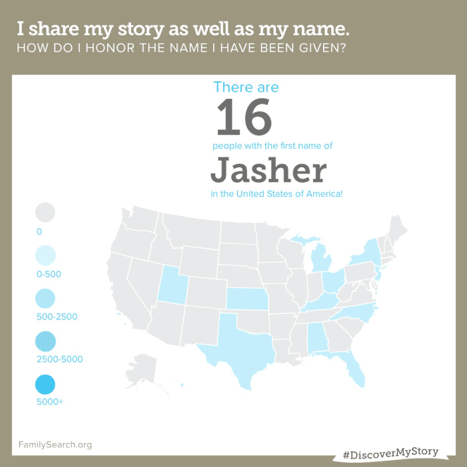 "map showing where people named ""Jasher"" live in the U.S."