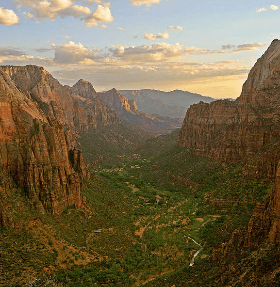 photo of Zion Canyon at sunset, Zion National Park, Utah
